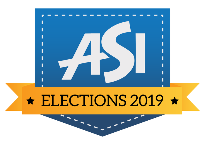 Gold and blue ASI Elections 2019 logo