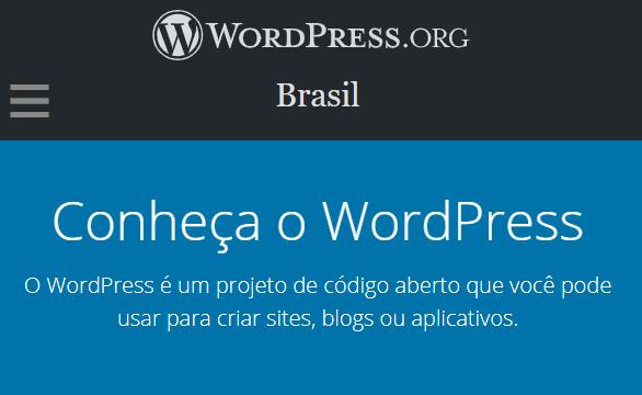 tela de apresentação do wordpress.org