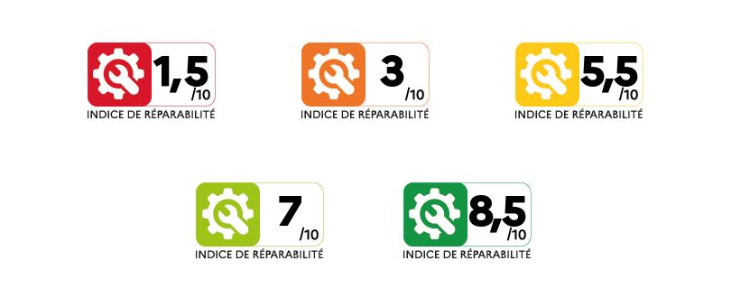 Une image contenant 5 exemples de l'indice de réparabilité de différentes couleurs : rouge, orange, jaune, vert clair et vert foncé, la couleur correspondant à la note de l'indice.