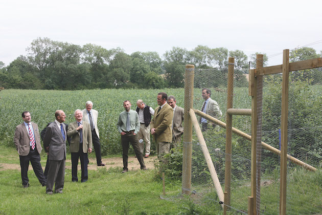 Prince Philip inspecting a pheasant release pen
