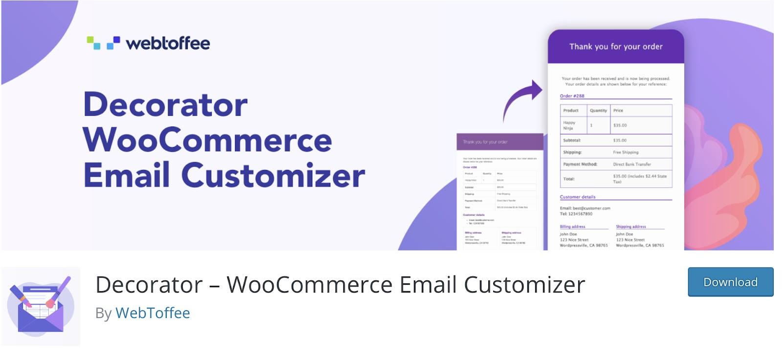 Decorator WooCommerce Email Customizer