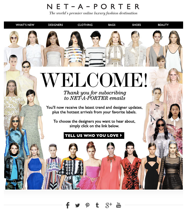 Net-A-Porter welcome email