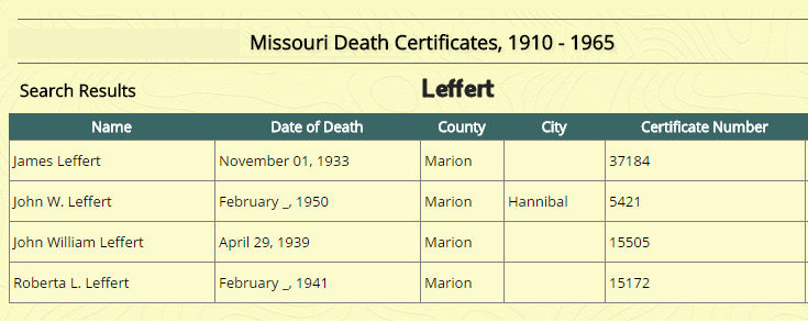 Missouri Death Certificates 1910-1965 LEFFERT.png