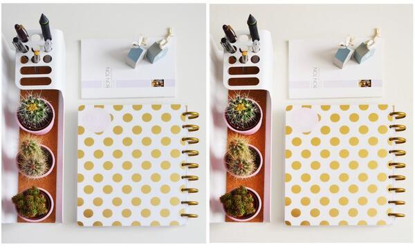 Montagem de duas fotos com uma messa com agenda, cactos e canecas.