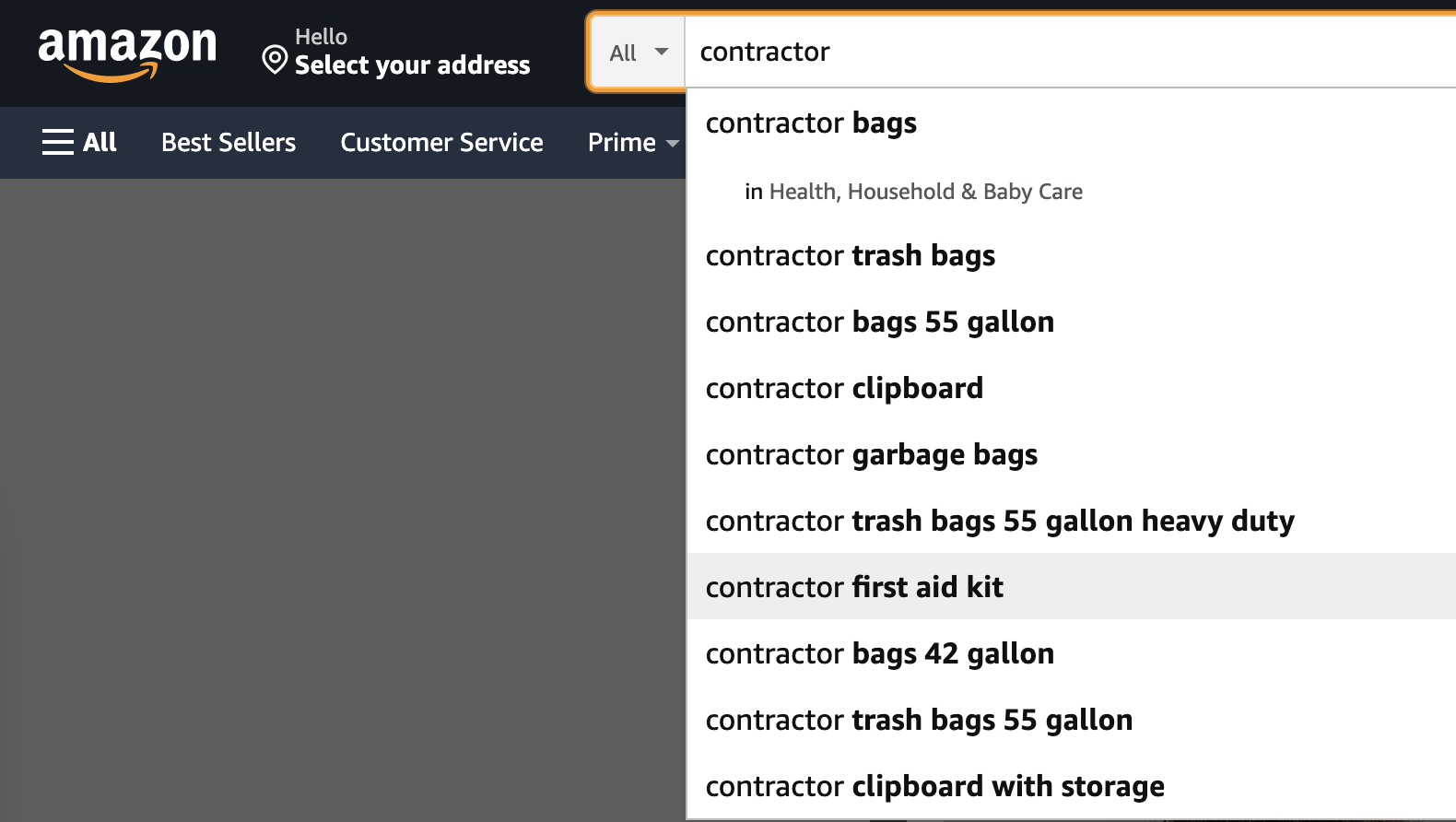 Contractor search on Amazon for SEO Tips For Contractors