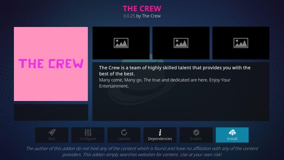 install the crew kodi addon