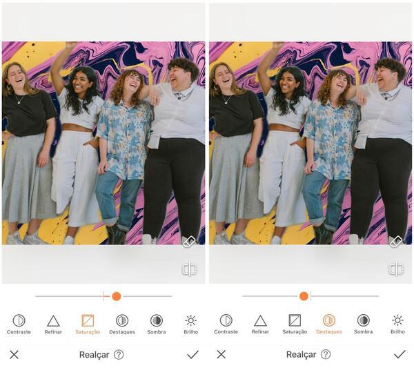Foto de quatro amigas sendo editada pelo AirBrush com a ferramenta Realçar