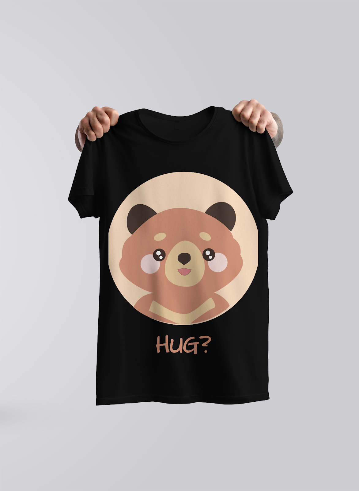 black t-shirt with teddy bear design for a print-on-demand business