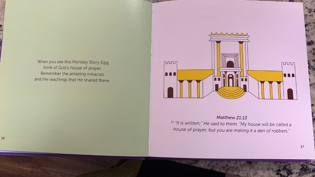 Easter Story Egg two page spread about the Cleansing of the Temple - Holy Week for Kids