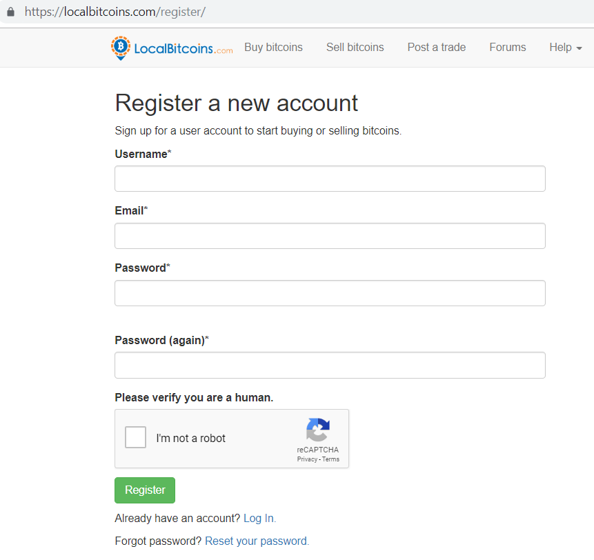 LocalBitcoins register a new account page.