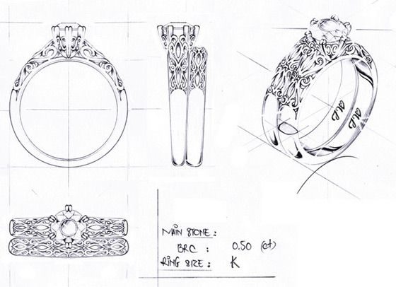 Custom Jewelry Sketch with Increased Detail