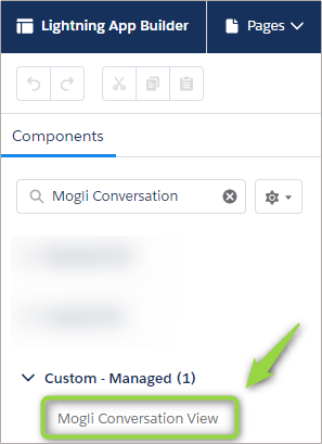Image of selecting Mogli Conversation View within Lightning App Builder