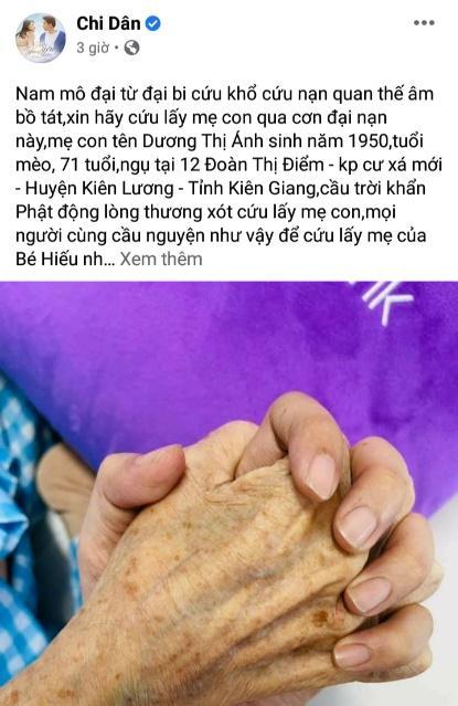 Chi Dân chia sẻ hình ảnh nắm tay, cầu nguyện cho sức khỏe của mẹ khiến khán giả xót xa