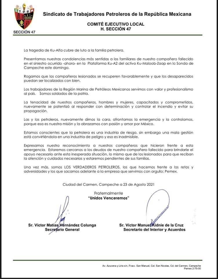 Carta del Sindicato Petroleros de la República Mexicana
