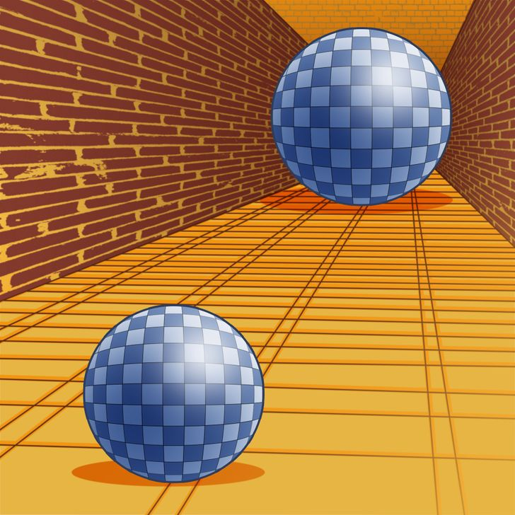 size illusion image of two balls