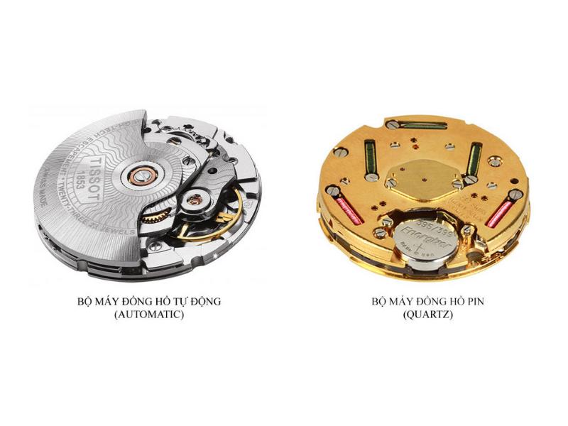 Cận cảnh hai loại bộ máy đồng hồ: đồng hồ cơ và đồng hồ pin, hai bộ phận chính để phân biệt đồng hồ chạy cơ và chạy pin