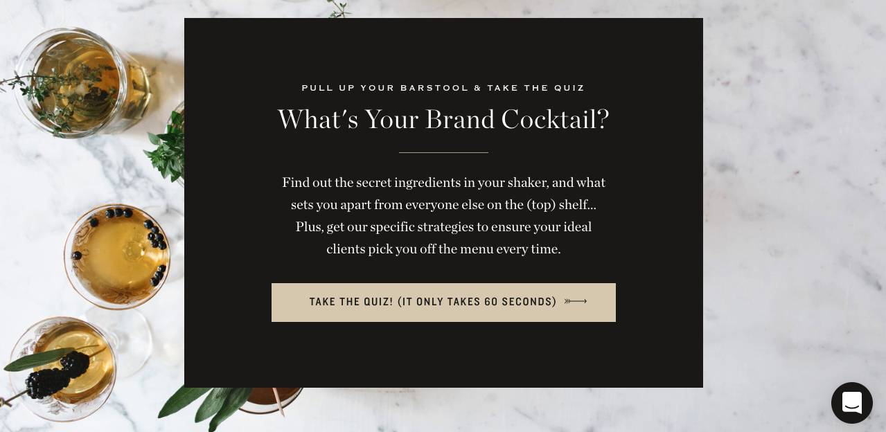 quiz cover from What's your brand cocktail quiz