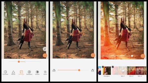 Tutorial de edição de uma foto de uma mulher posando perto das árvores usando as ferramentas do AirBrush