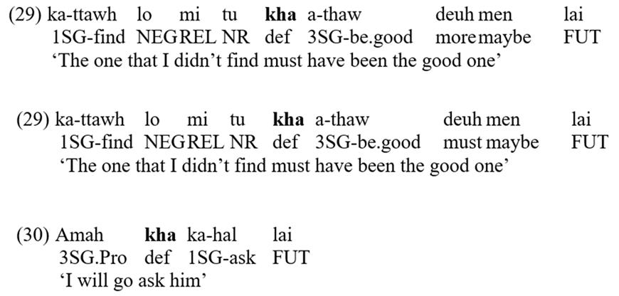 Exampleof the definite article khain Hakha Chin
