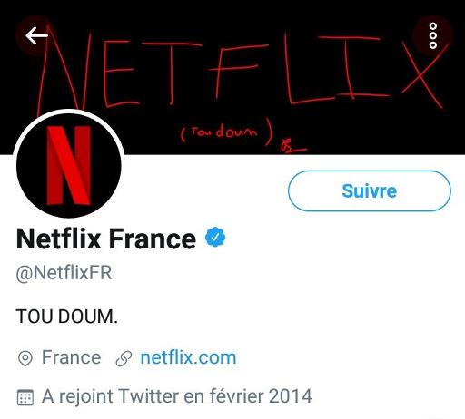 """Capture d'écran du profil Twitter de Netflix avec la bannière fanart """"absolument pas joli"""" d'un abonné"""