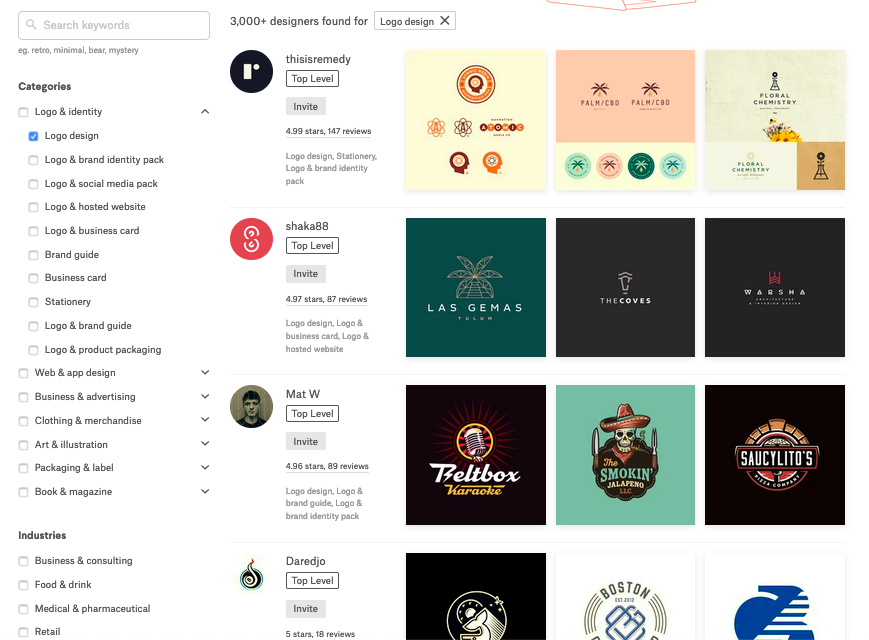 99designs review: screenshot of search screen to find designers for hire