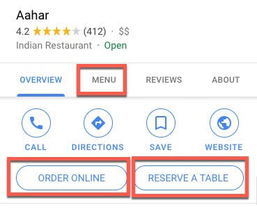 google my business for restaurants menu
