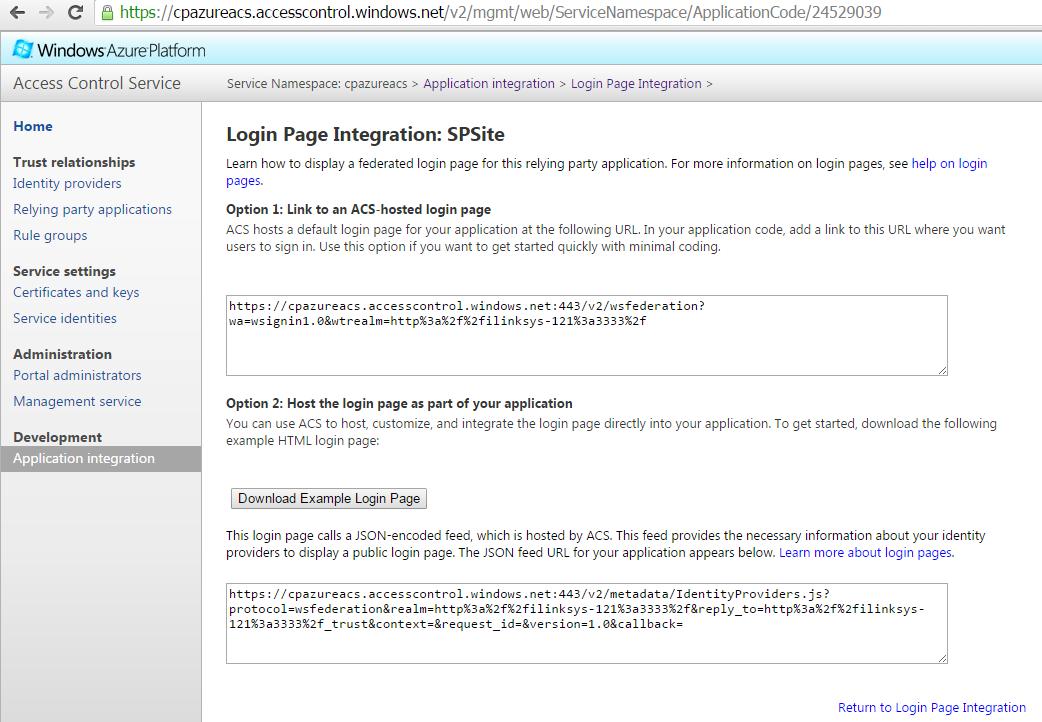 Azure ACS Login Page URL