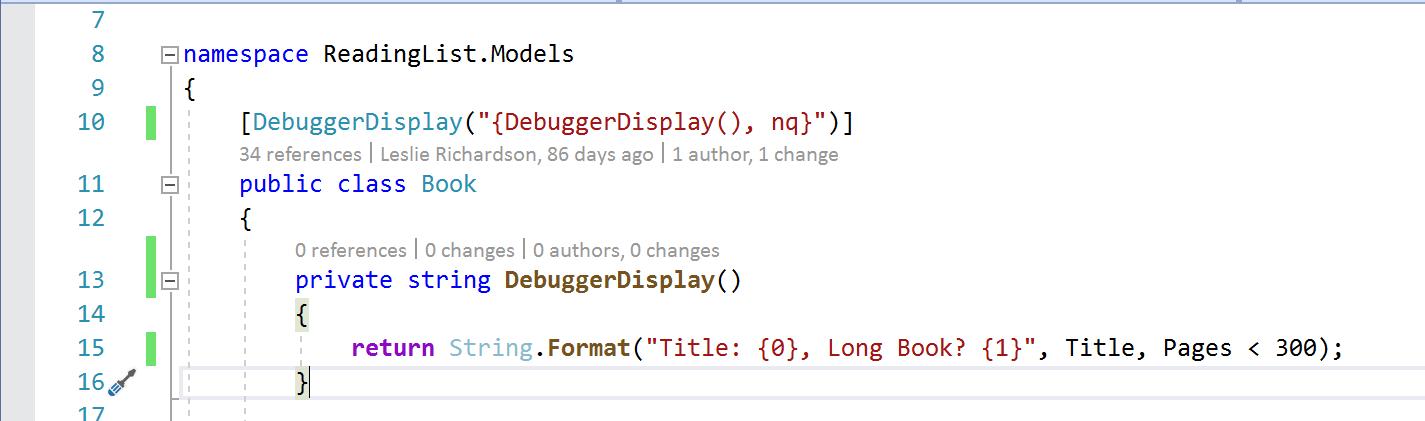 Figura 9: creación de un método que contiene expresiones más complejas y el formato al que hace referencia DebuggerDisplay
