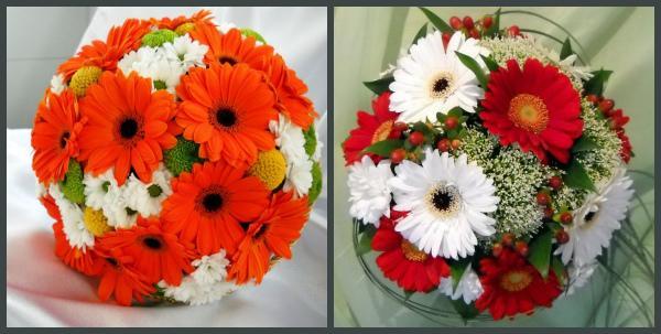 Свадебные букеты с хризантемами и герберами
