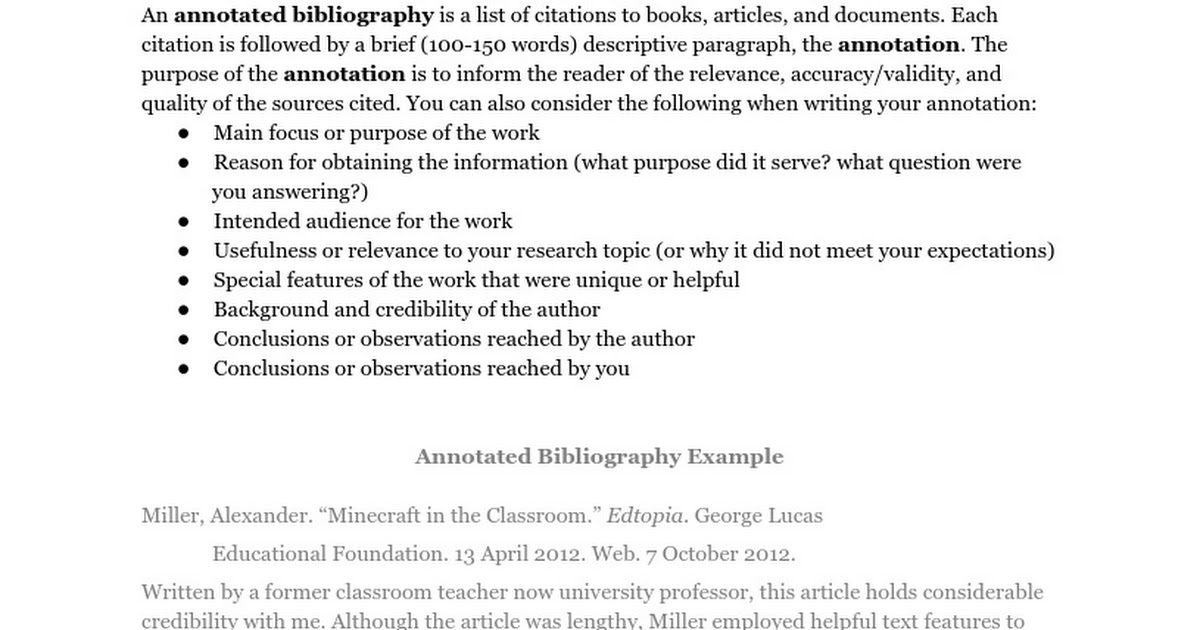 annotated bibliography on the quality and