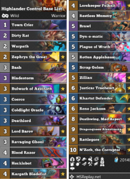 Rattlegore Warrior main list