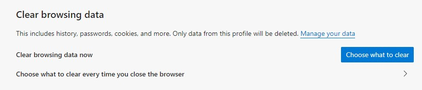 The interface to delete the browsing data for MS Edge