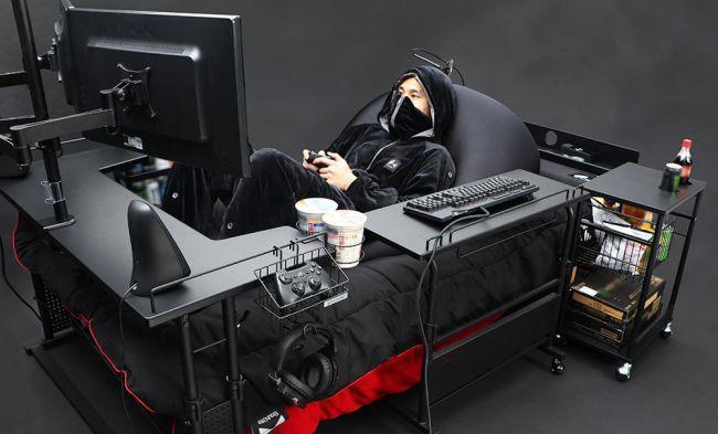 Xuất hiện chiếc giường trong mơ: Nằm cả ngày cày game cũng được - Ảnh 1.