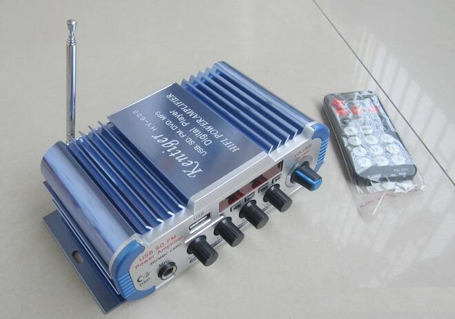 Mini USB SD FM stéréo trois en 1 Kentiger HY600 Amplificateur couleur bleue Microphone entrée de la télécommande 2 CH Car Amplificateur www.avalonlineshopping.com 3.jpg