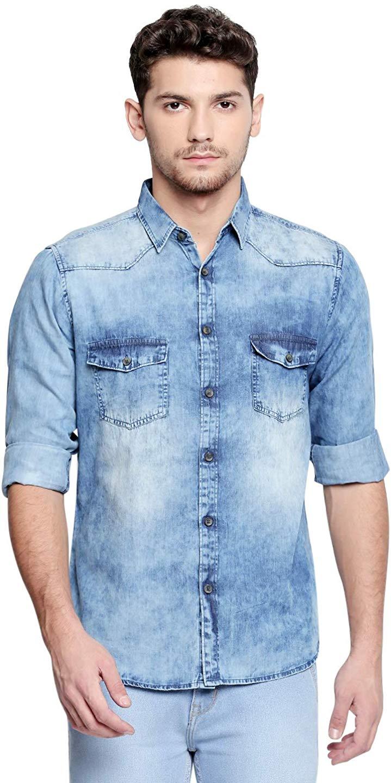 Dennis Lingo Men's Denim Blue Shirt