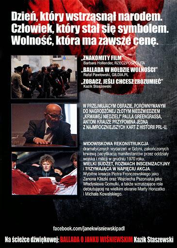 Tył ulotki filmu 'Czarny Czwartek. Janek Wiśniewski Padł'