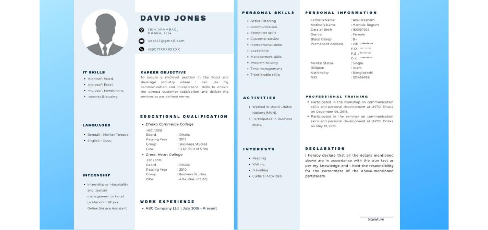 More resume samples for 1st job