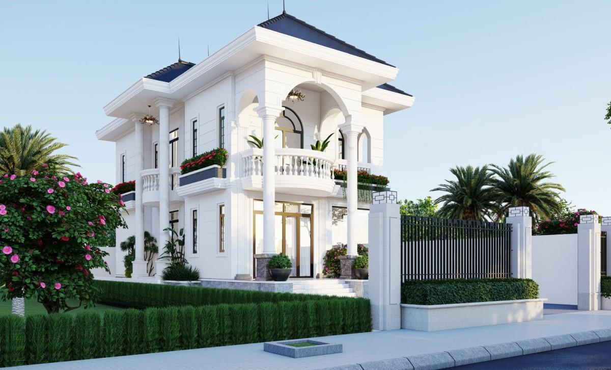 Mẫu biệt thự 2 tầng phong cách tân cổ điển