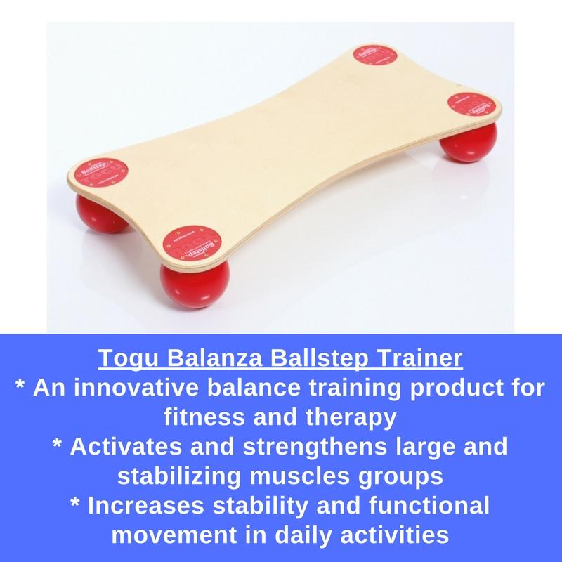 Togu Balanza Ballstep Trainer was designed to be used for both sensory-motor training and functional training.