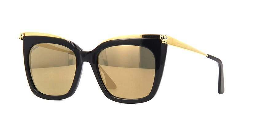 Cartier CT0030S 001 Black and Gold Sunglasses | Pretavoir