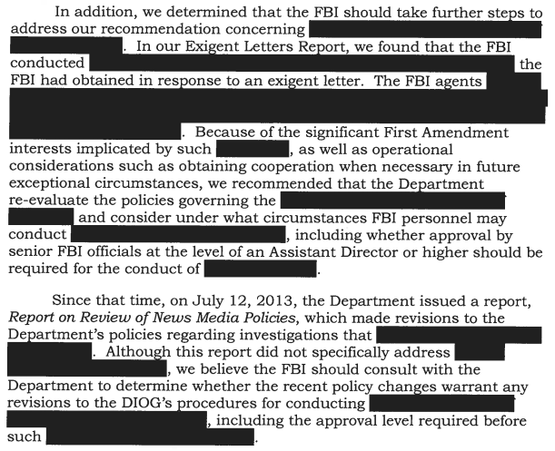 When can FBI use National Security letters to go after reporters
