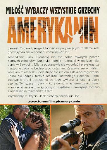Tył ulotki filmu 'Amerykanin'