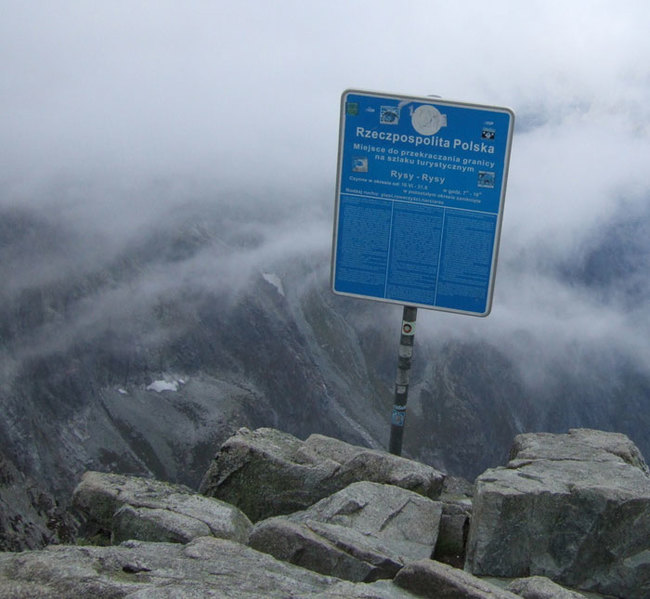 12) Slovakia and Poland - Mt. Rysy in the Tatras mountains marks the border between the two EU member nations.