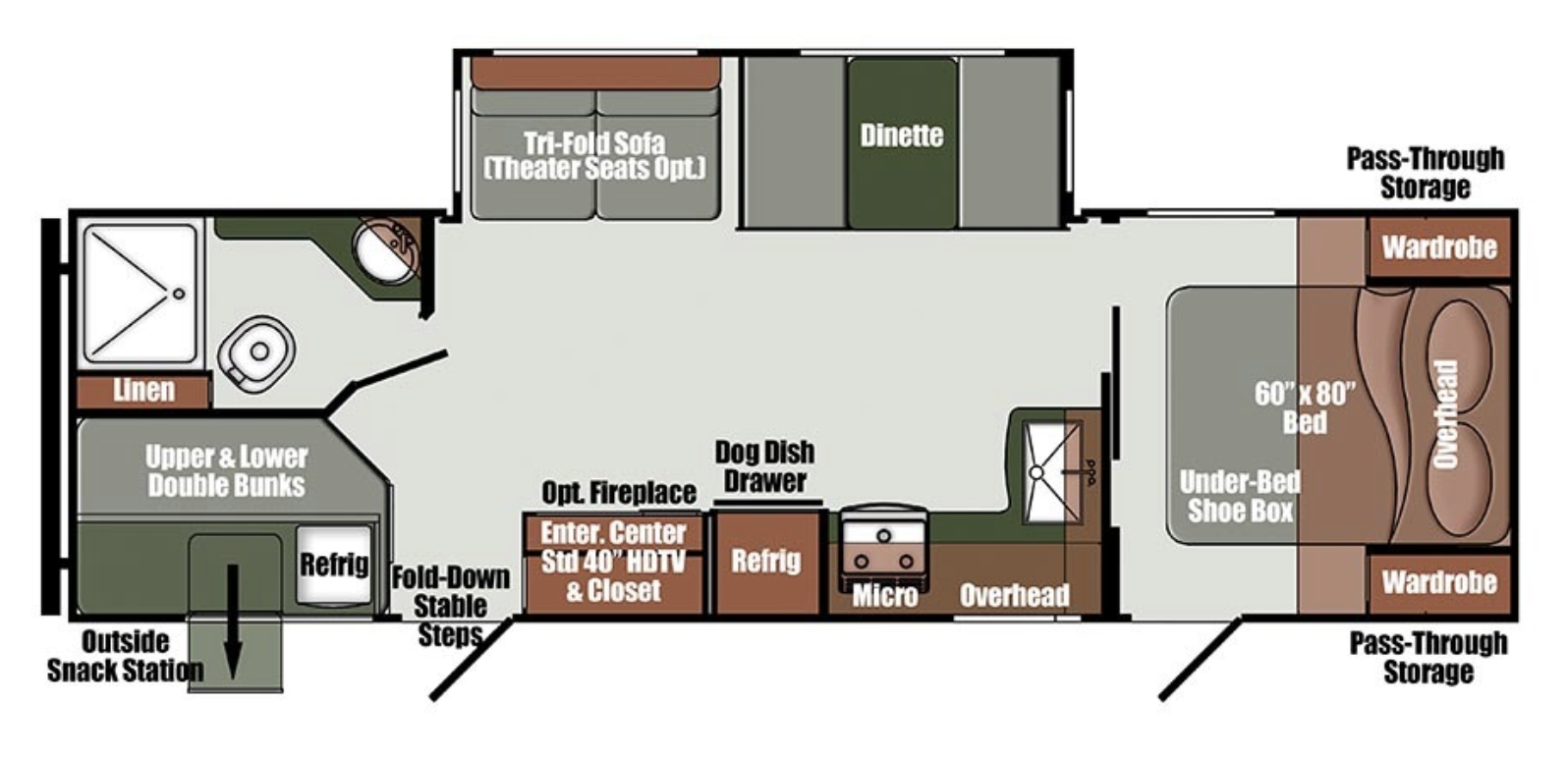 Floor plan for the family-friendly Gulfstream Envision 282BH Travel Trailer.