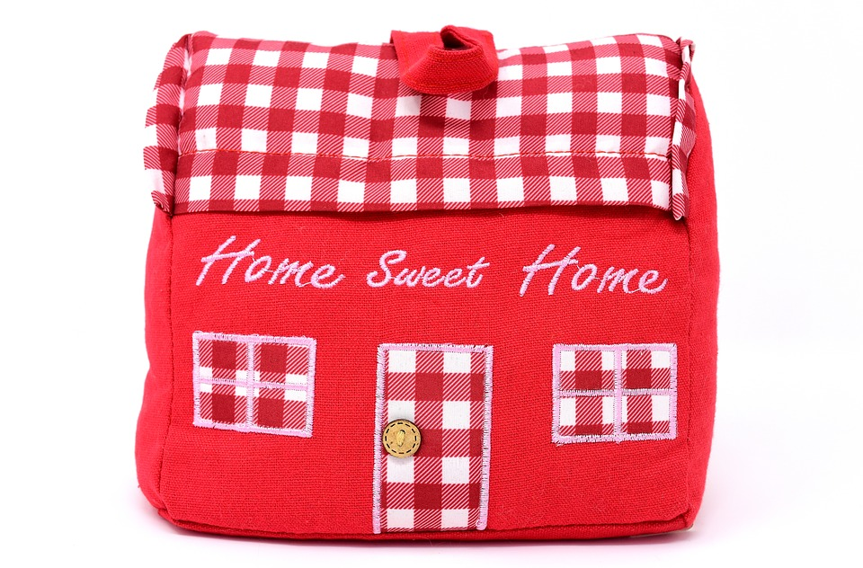 Home Sweet Home, At Home, Doorstop, Home, Fabric, Red