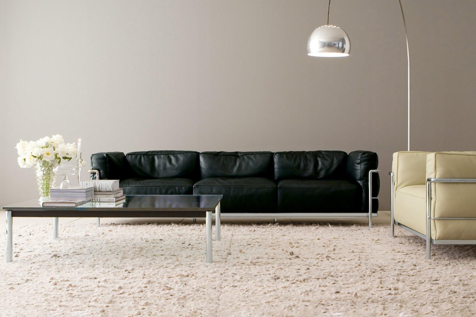 a black Grand Modele three-seat Sofa