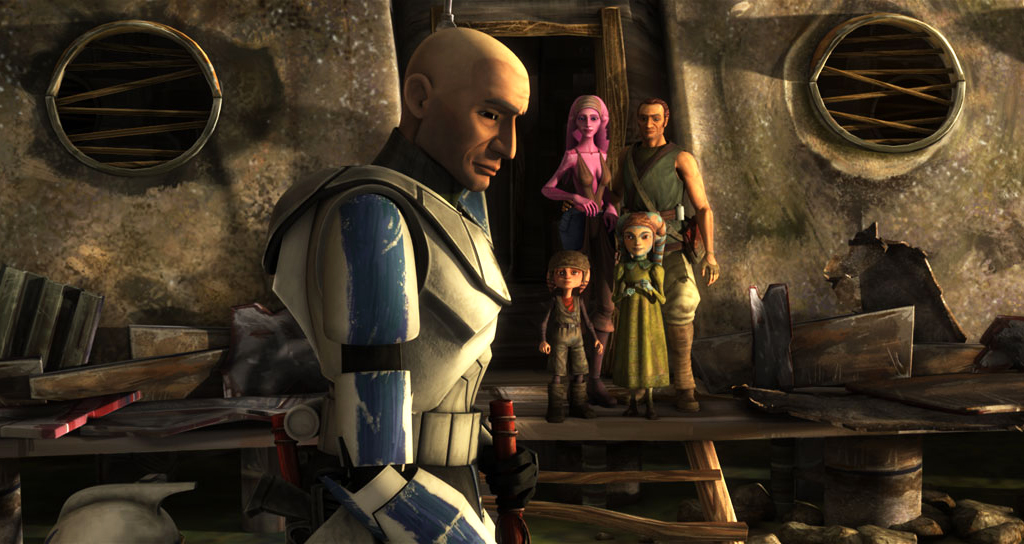 Clone trooper Rex is standing in front of a small family, preparing to say goodbye.