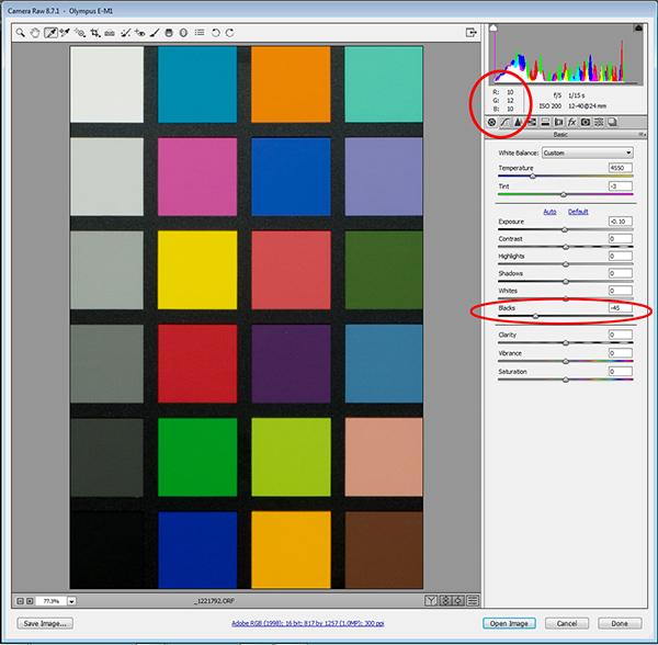 Подстройка яркости в ACR. На скриншоте видна подстройка Чёрной точки (обведено красным).