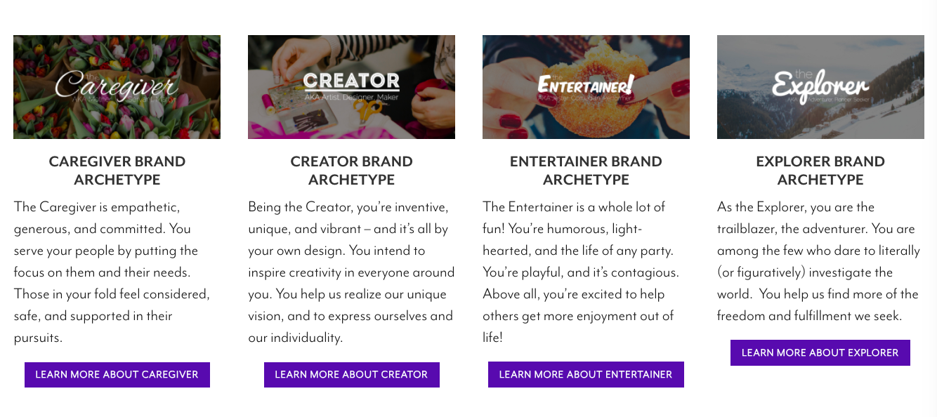 quiz results for brand archetypes