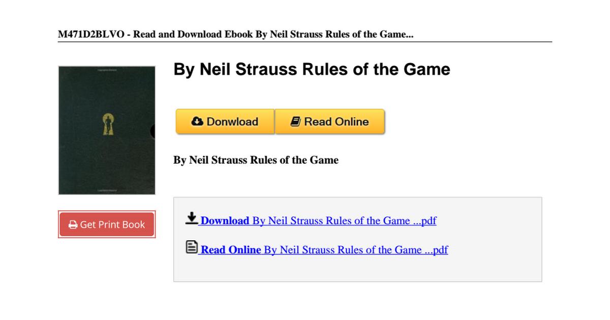 By Neil Strauss Rules Game B00n4i9wju Pdf Google Drive